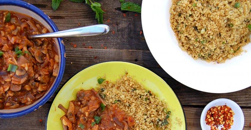 Ginger Coriander Mushroom Sauce and Minty Garlic Quinoa