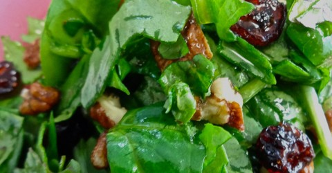 Spinach and Kale Salad with Maple Citrus Dressing