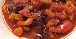 Spicy Three Bean Veggie Chili Recipe
