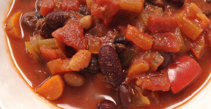 Spicy Three Bean Veggie Chili Recipe
