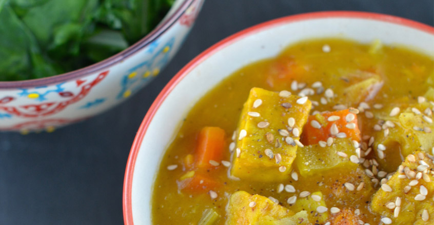 Tempeh & Cabbage Curry with Chard Recipe