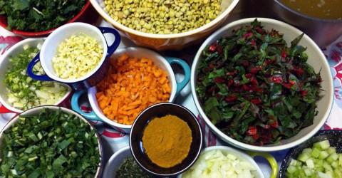 Estofado de lentejas con vegetales guisados