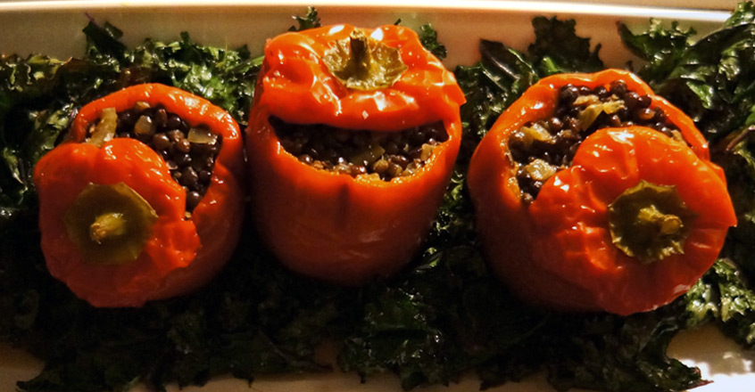 Stuffed Bell Peppers With Curried Lentils Recipe