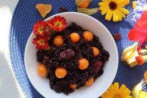 Black Rice Salad with Red Raisins & Cape Gooseberries