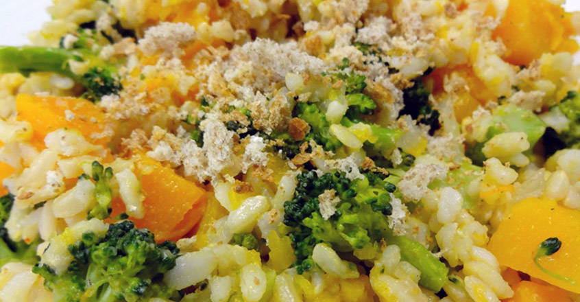 Brown Rice Risotto With Caramelized Onions, Squash and Broccoli
