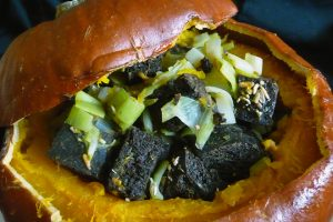 Pumpkin With Pumpernickel, Leek and Cranberry Stuffing Recipe