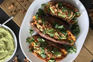 "Loaded Sweet Potatoes with Cilantro-Jalapeno Hummus and Coconut Flake ""Bacon"" Bits Recipe"