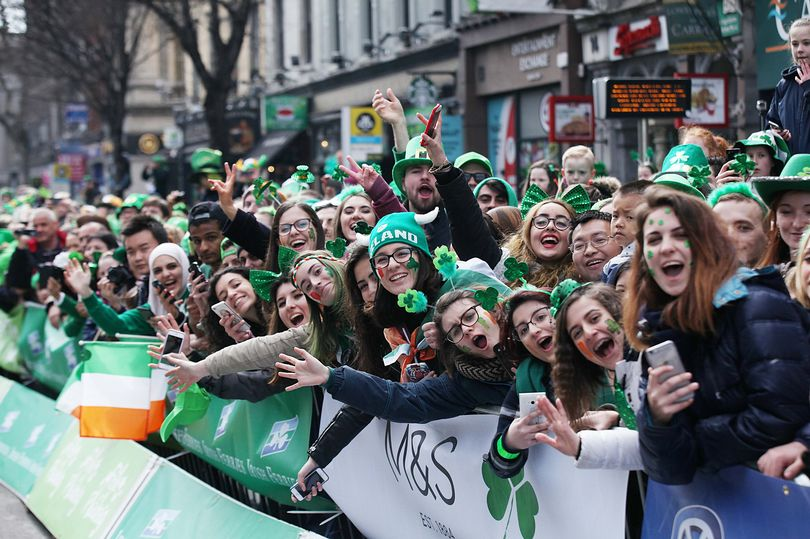 Scene at a St. Patrick's Day parade in Dublin