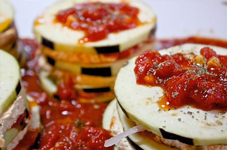 Vegan Ricotta Stuffed Eggplant Stacks