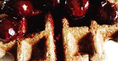Buckwheat Waffles With Dark Cherry Syrup