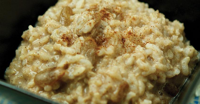 Pudín de arroz hecho en estufa