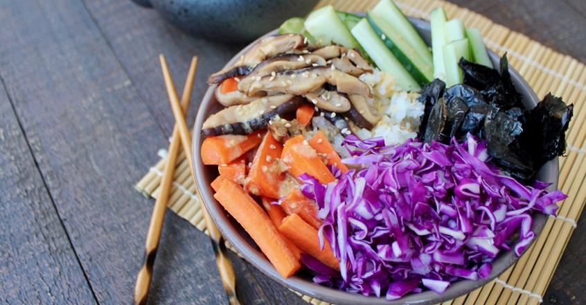 Tazón de sushi vegano