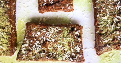 No-Bake Chocolate Coconut Matcha Bars