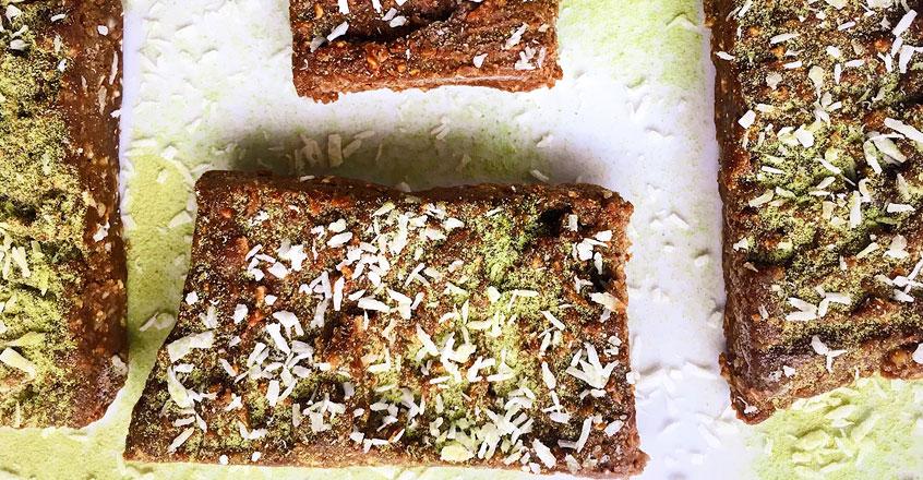 No-Bake Chocolate Coconut Matcha Bars