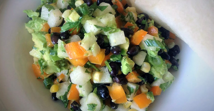 Guaca-Jica: Quick Corn, Bean, Jicama, and Avocado Salad