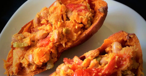 7 Minute Southwestern Stuffed Sweet Potato