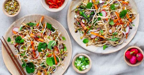 Vegetable Pad Thai in Tamarind Sauce