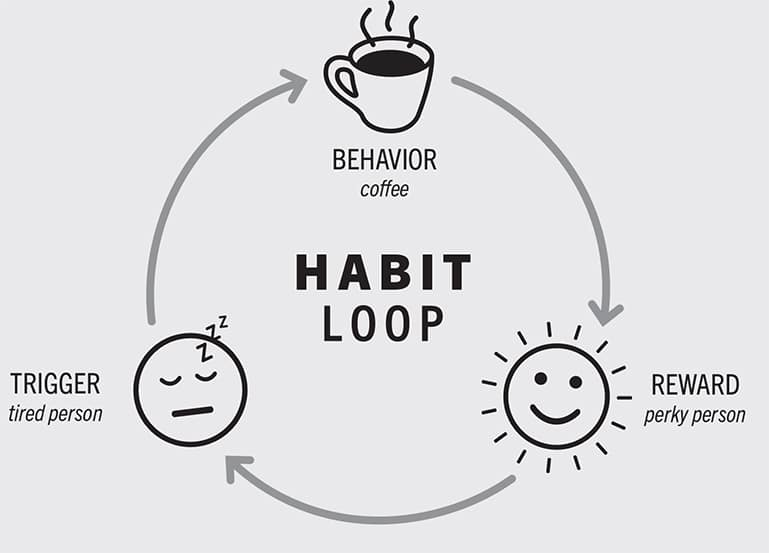 This Trigger-Behavior-Reward sequence is known as the habit loop.