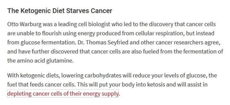 does ketogenic diet really cure cancer