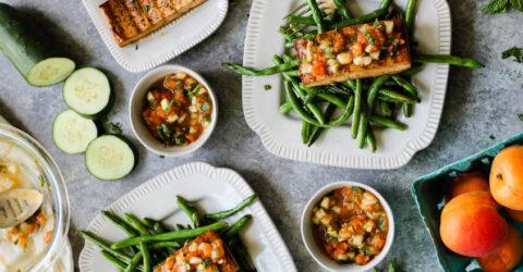 Filetes de tofu con compota de albaricoque y menta