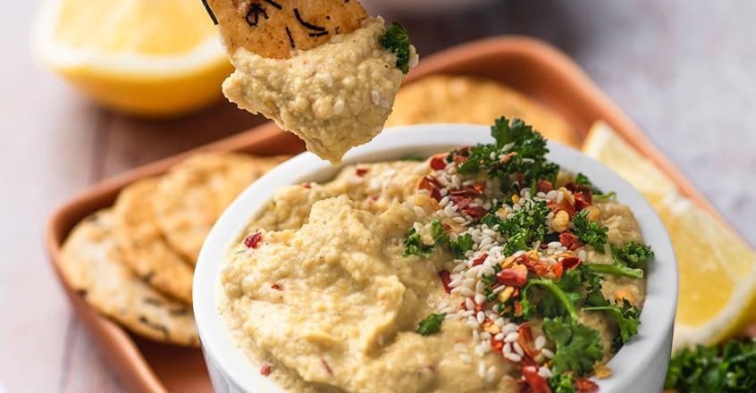 Hummus con curry libre de aceite