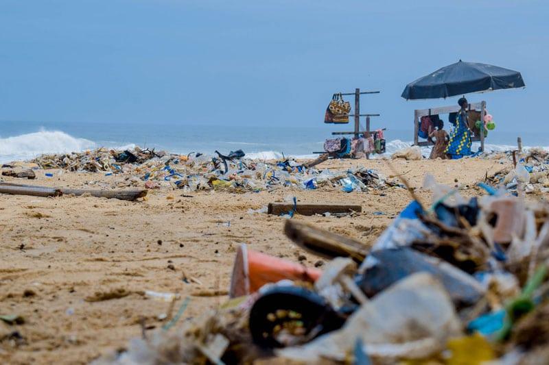 Piles of Trash on a Beach