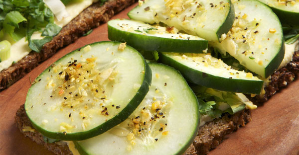 CUCUMBER AND KALE OPEN-FACED SANDWICH