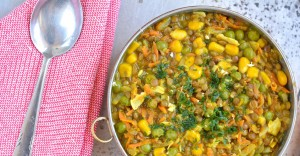 Brown Lentil Stew with Corn and Green Peas Recipe