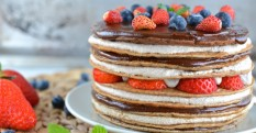 Pancake Cake With Cashew-Buckwheat Ricotta & Date-Chocolate Cream