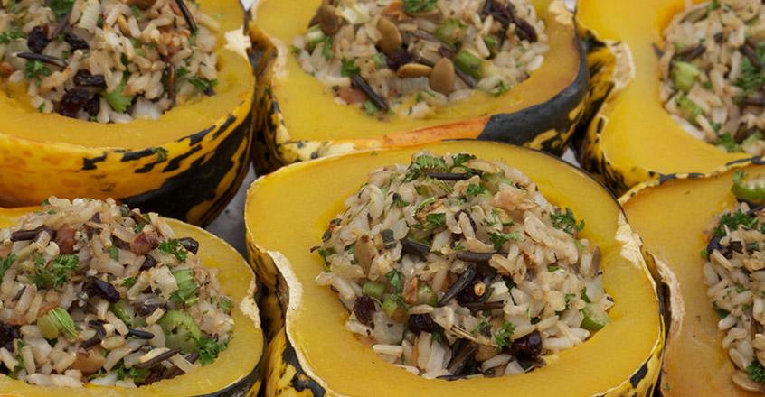 Wild Rice Stuffed Carnival Squash Recipe