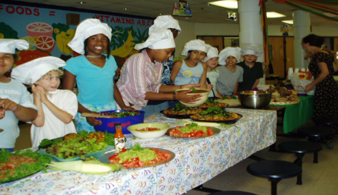 Our first community dinner, 2004
