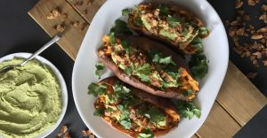 "Loaded Sweet Potatoes with Cilantro-Jalapeno Hummus and Coconut Flake ""Bacon"" Bits Recipe"